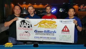 Winners of Stop #15 on pool's Predator Pro Am Tour